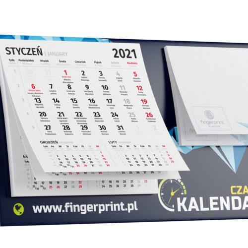 kalendarz biurkowy z notesem i nadrukiem