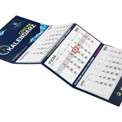 kalendarz trójdzielny z nadrukiem łódź