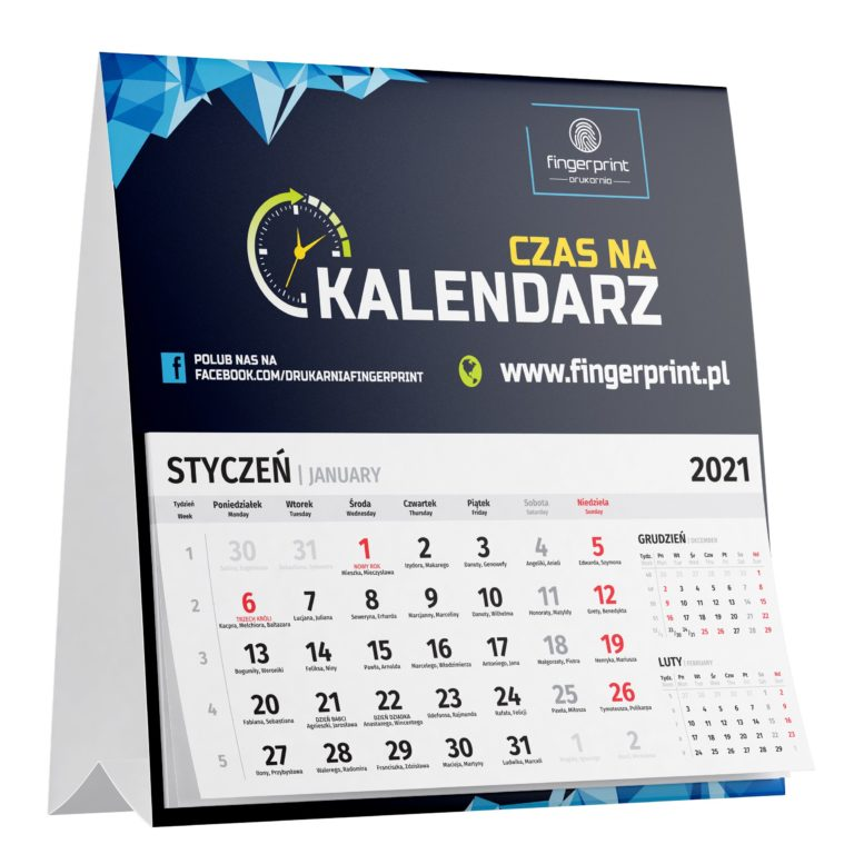 Kalendarz biurkowy z dużym kalendarium